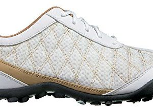 FootJoy Ladies Superlites Spikeless Golf Shoes White/Tan 7 Wide
