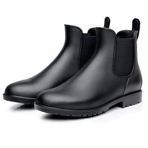 Mini Balabala Women's Rain Shoes Unisex Elastic Waterproof Black Slip On