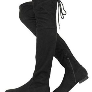 DREAM PAIRS Women's Pauline Black Faux Suede Over The Knee Boots