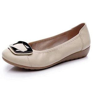 Women's Genuine Leather Comfort Ballet Flats Slip On Dress Shoes