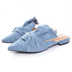 VFDB Women's Bowtie Mule Slippers Summer Pointy Toe Loafers Slip On