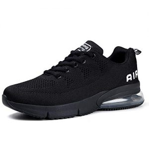 Womens Running Shoes Air Cushion Sneakers Lightweight Athletic Tennis Sport Shoe Black, 8.5