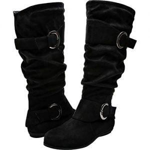 Aukusor Women's Wide Width Mid Calf Boots - Buckle Detail Elastic