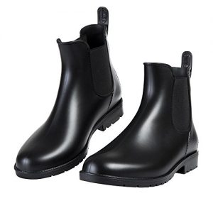 Asgard Women's Short Rain Boots Waterproof Black Elastic Slip On