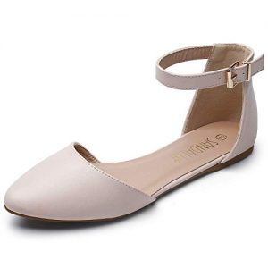 SANDALUP Pointy Toe Flats with Adjustable Ankle Strap Buckle