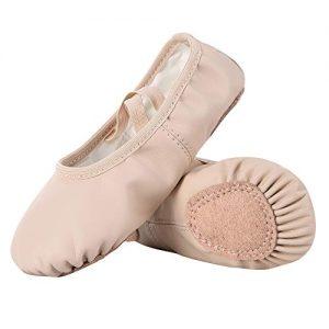 Dynadans PU Leather Ballet Shoes/Ballet Slippers/Dance Shoes (Toddler/Little/Big Kid/Women)-Nude-1.5M Little Kid