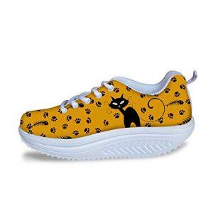 Bigcardesigns Cat Designs Wedge Sneakers Women Ornage Trendy Walking