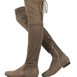 DREAM PAIRS Women's Pauline Khaki Faux Suede Over The Knee Boots