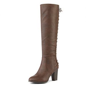 DREAM PAIRS Women's MIDLACE Brown PU Over The Knee High Boots