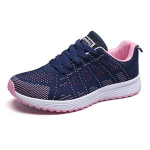 YUHUAWYH Womens Running Shoes Breathable Knit Walking Sneakers