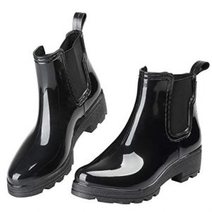 EYUSHIJIA Women's Short Rain Boots Waterproof Slip On Ankle Chelsea Booties