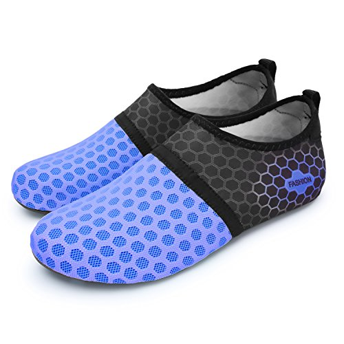 L-RUN Men Women Swim Shoes Water Shoes Outdoor Dot_Navy Utra gentle designed materials makes you're feeling nice freedom and cozy in sporting. The mushy stretchy higher is breathable,mushy and the liner is snug. Durable sole naturally contours to your foot at no cost vary of movement with a novel design, You can put it on for numerous actions and water sports activities,similar to yoga, dance, swimming, browsing, driving and so forth.