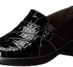 CLARKS Women's May Marigold Slip-On Loafer, Black Crocodile