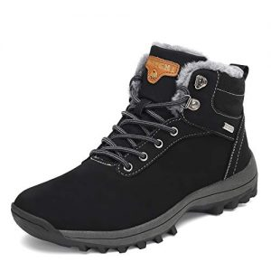SAGUARO Mens Women Fur Lined Snow Boots Waterproof Leather