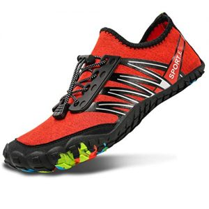 L-RUN Mens Womens Water Shoes for Beach Swim Red Women