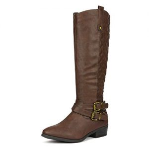 DREAM PAIRS Women's Bar Brown Knee High Boots
