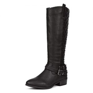 DREAM PAIRS Women's Bar Black Knee High Boots
