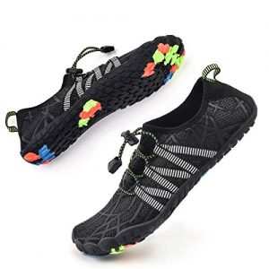 Bopika Water Shoes Sports Quick Dry Barefoot Shoes Diving Swim Surf Aqua Walking Beach for Mens Womens (9.5 M US Men, ZB-Black)