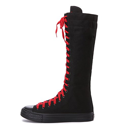 ANUFER Girls Women Fashion Knee High Lace-Up Canvas Boots ANUFER Girls Women Fashion Knee High Lace-Up Canvas Boots Pure Black Zip Dance Boots 801 US9.