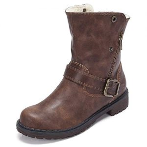 CAMEL CROWN Wide Calf Boots for Women Round Toe Leather Combat Boots