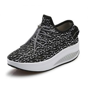 JARLIF Women's Platform Canvas Walking Sneakers - Comfortable Lightweight Lace-up Fitness Shoes Black US5