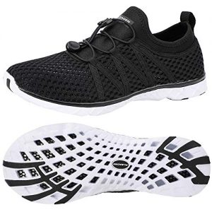 ALEADER Water Shoes Womens for Water Sports, Walking, Travel Black/White 6 B(M) US