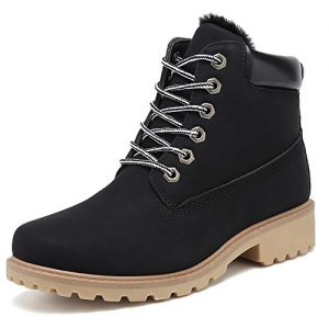 KARKEIN Ankle Boots for Women Low Heel Work Combat Boots Waterproof