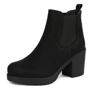 DREAM PAIRS Women's FRE Black_PU High Heel Ankle Boots