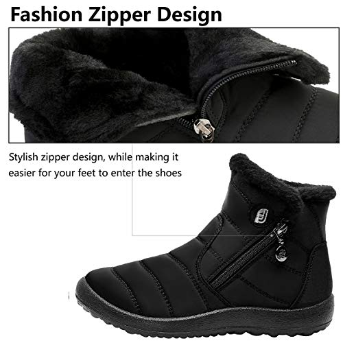 L-RUN Womens Snow Boots Fur Lined Ankle Snow Booties Outdoor Slipper L-RUN Womens Snow Boots Fur Lined Ankle Snow Booties Outdoor Slipper Warm Black 6.5 M US.