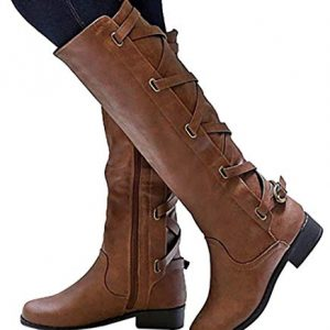Mafulus Womens Winter Knee High Boots Lace Up Strappy Motorcycle