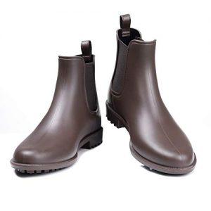 Litfun Women's Waterproof Ankle Rain Boots - Brown Matte Short Rain Boot