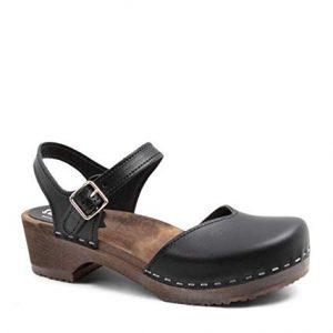 Sandgrens Swedish Wooden Low Heel Clog Sandals for Women