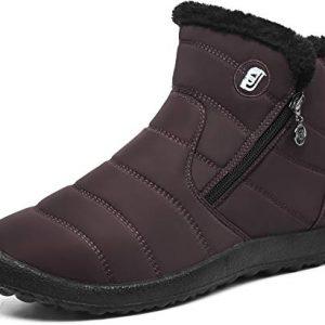 JOINFREE Winter Waterproof Ankle Snow Boots Fur Lined Slip On Sneaker