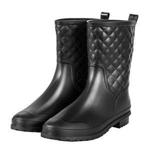 Chorade Womens Black Mid Calf Rain Boots Outdoor Work Waterproof