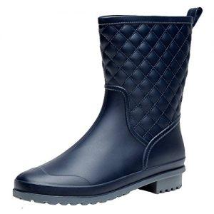 Holyami Womens Waterproof Rubber Mid Calf Rain Shoes