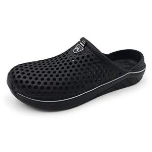 Amoji Garden Women Men Clogs Shoes Slippers Indoor Shoes Sandals Outdoor Shower Shoes Summer Breathable Light Beach Sport Women Ladies Y182 Black 12-13 M US Women/9.5-10.5 M US Men