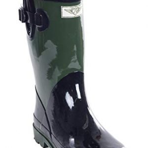 Forever Young Women Mid-Calf Army Green Rubber Rain Boot