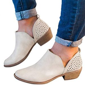 Athlefit Women's Booties Ankle Heel Slip On Low Heel Cut Out Ankle Boots