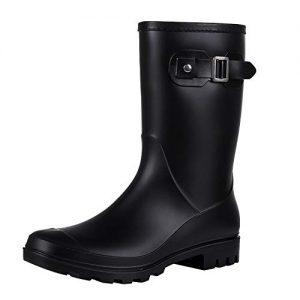Evshine Women's Mid Calf Rain Boots Waterproof Garden Shoes Matte