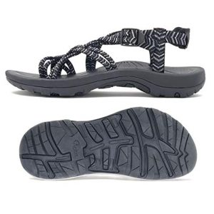 Viakix Siena Womens Walking Sandals, Black, US 8