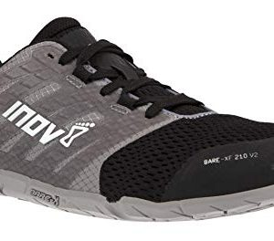 Inov-8 Womens Bare-XF 210 V2 - Barefoot Minimalist Cross Training Shoes - Zero Drop - Wide Toe Box - Versatile Shoe for Powerlifting & Gym - Calisthenics & Martial Arts - Grey/Black 9 W US