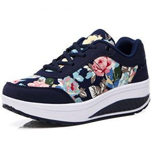 Orlancy Women's Fashion Leather Platform Lace-up Sneakers Walking Shoes