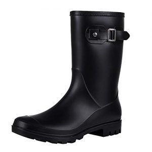 Evshine Women's Mid Calf Rain Boots Waterproof Garden Shoes