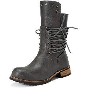 Mostrin Mid Calf Leather Boots for Women Fashion Chunky Low Heel