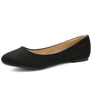 CIOR Women Ballet Flats Classy Simple Casual Slip-on Comfort Walking Shoes VPDA1-BlackSuede-254N