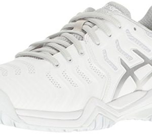 ASICS Women's Gel-Resolution 7 Tennis Shoe, White/Silver