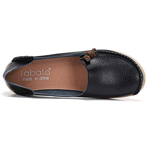 labato Women's Leather Loafers Breathable Slip on Driving Shoes labato Women's Leather Loafers Breathable Slip on Driving Shoes Casual Comfort Walking Flat Shoes(6.5,Black).
