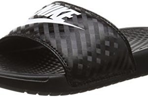 Nike Women's Benassi Just Do It Sandal, Black/White