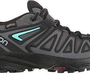 SALOMON Women's X Crest GTX W Trail Running Shoe, Magnet/Black/Atlantis, 7 M US