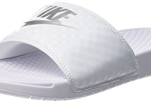 Nike Women's Benassi Just Do It Sandal, White/Metallic Silver